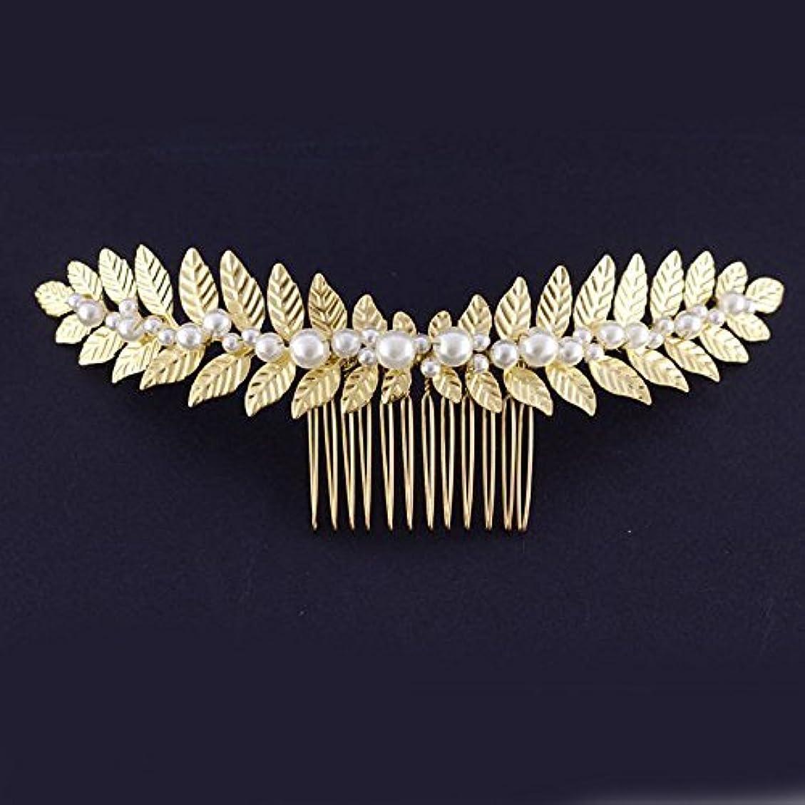 敬の念希望に満ちた遺棄されたFXmimior Bridal Women Gold Leaves Vintage Wedding Party Crystal Rhinestone Hair Comb Hair Accessories Wedding...