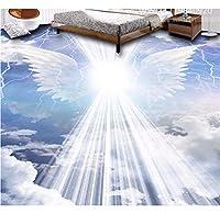 Weaeo 3Dフローリング天使の羽の雲壁紙3Dフロアステッカー防水自己接着剤の壁紙-250X175Cm