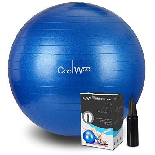 Coolwoo バランスボール 65cm ポンプ付き ヨガボール アンチバースト仕様 ブルー