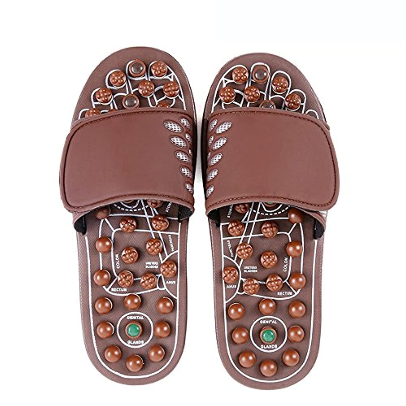 不変セクタ曲げる快適 ジェイドマッサージスリッパ女性の足指圧ホームシューズ滑り止めスリッパ屋内マッサージシューズ(オプションのサイズ) 増加した (サイズ さいず : L(43-46))