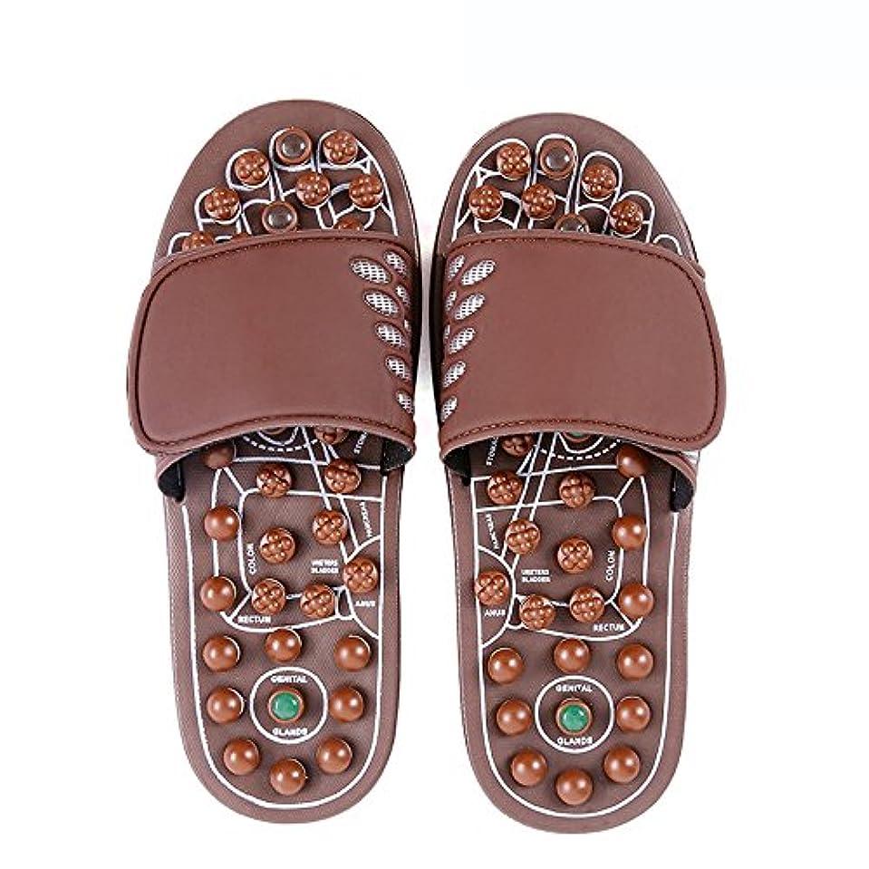 岸メンタル赤快適 ジェイドマッサージスリッパ女性の足指圧ホームシューズ滑り止めスリッパ屋内マッサージシューズ(オプションのサイズ) 増加した (サイズ さいず : L(43-46))