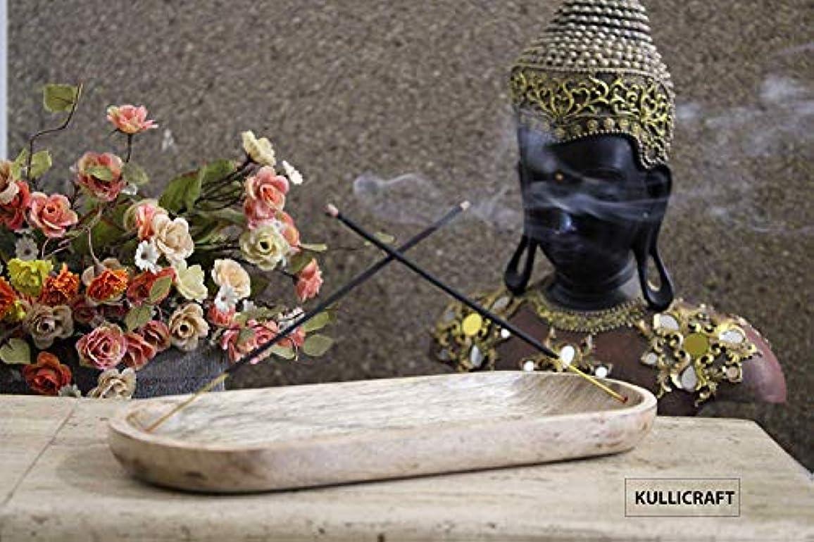 落とし穴世界に死んだ村Kullicraft Handcrafted Marble Soapstone Agarbaati Stands Incense Holder (Free 6 Incense Sticks Rose Fragnance) (Natural Brown)