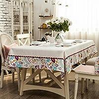 WENJUN 大きな正方形のテーブルクロス、  長方形のテーブルクロス テーブルクロスコーヒーテーブル 長方形カバータオル、 コットンリネンテーブルクロス テーブルクロスダイニングテーブルクロスハンド刺繍 (サイズ さいず : 130*130cm)