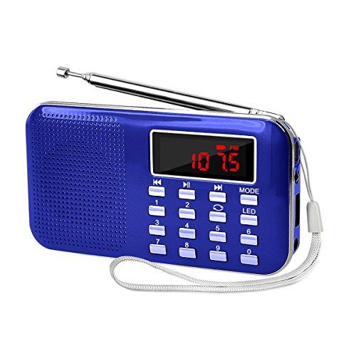 充電式 多機能 AM FMポケットラジオ 高感度 USB.microSDカード対応 MP3プレーヤー LEDライト 非常用ラジオ 小型で軽量 携帯ラジオ 1年保証 ブルー