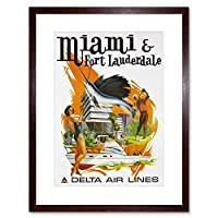Airline Miami Florida Delta Fishing Golf Sun Picture Framed Wall Art Print 航空会社釣り画像壁