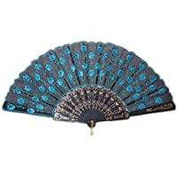 Sungpunet Peacock Pattern Sequin Fabric Hand Fan Decorative Fashionable (New Blue) by Klicnow