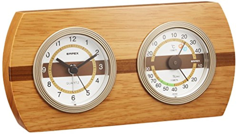 EMPEX (エンペックス) 置掛時計 ウッドクレスト温?湿度計?時計 TM-607