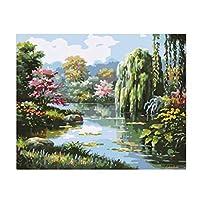 perfk 油絵 数字油絵セット 塗り絵 DIY デジタル油絵  装飾 10種選べ 美しい 風景 素晴らしい - 川1