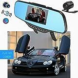 AUDEW ドライブレコーダー ミラー 死角 ルームミラー モニター ルームミラー モニター バックカメラ 4.3インチ HD 1080P 高画質 録画 可能 バックカメラも付属 車載 防犯 カメラ