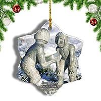 Weekinoグリーンランドデンマークグリーンランドソープストーンクリスマスオーナメントクリスマスツリーペンダントデコレーション旅行お土産コレクション陶器両面デザイン3インチ