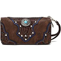 La Dearchuu Rhinestone Studded Wristlet Bags for Women Embossed Design Western Wristlet Purse Wallet