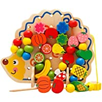YiMiky 木製フルーツと野菜 レース&ストリングビーズおもちゃ 82ピース ハリネズミ フルーツビーズ 知育玩具 運動用 手遊び 通気性 木製玩具