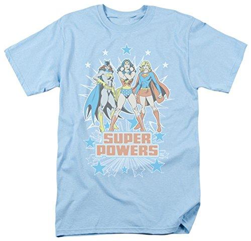 [해외]DC 코믹스 슈퍼 파워 3 명의 딸 배트 걸 원더 우먼 슈퍼걸 성인 T 셔츠 블루/DC Comics Super Power 3 Girls Bat Girl Wonder Woman Super Girl Adult T-Shirt Blue