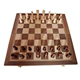 junda 木製チェスセット チェス 木製チェスボード 折り畳み式木製コンボ 多機能チェス