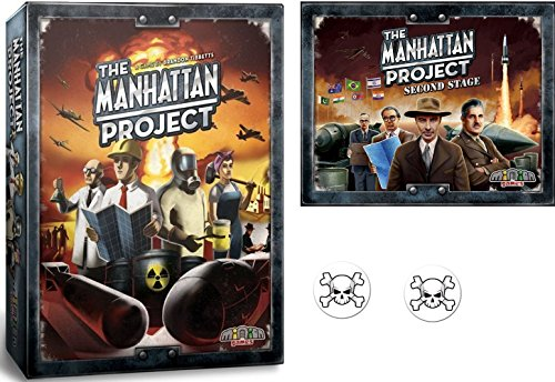 The Manhattan Project Board Game Bundle of Base Game and the Second Stage Expansion plus 2 Skull and Crossbones Buttons