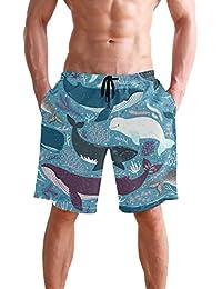 VAWA 水着 メンズ サーフパンツ おしゃれ ビーチパンツ 海水パンツ 短パン 吸汗速乾 大きいサイズ 水陸両用 かわいい 魚柄 クジラ 海豚柄