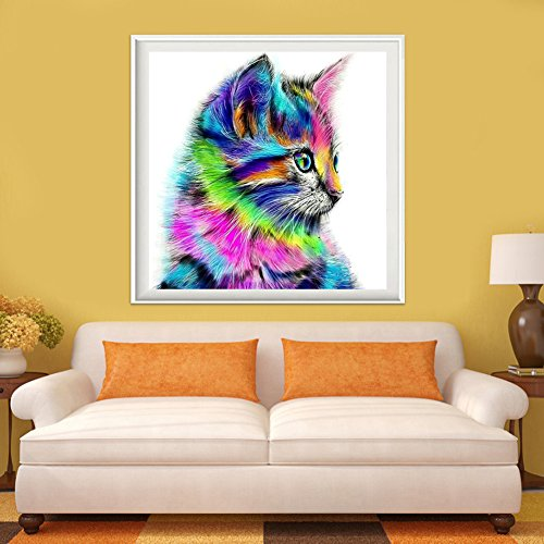Chinatera Colorful Cat 5D Diamond DIY Painting Craft Kit Home Decor