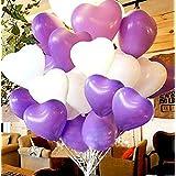 ハート 型風船 ハートバルーン 約100個 空気入れ ポンプ ピンクの リボン 3点セット 結婚式 イベント セレモニー (紫50個&白50個セット)