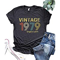 GREFLYING 40th Birthday Gift Womens T Shirt Retro Birthday Party Vintage 1979 Original Parts Cute Funny Summer Casual Music Tees Tops