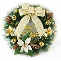 【Jewel Life】玄関ドアをエレガントに! クリスマスリース ポインセチア まつぼっくり 直径約40cm ゴールド ホワイト お急ぎ便可!