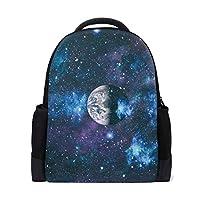 2825cb3e98c1 リュック 星空 地球 天体 子供用 レディース 学生用 大容量 耐久性 軽量 かばん デイパック