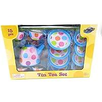 15 PieceブルーピンクドットデザインおもちゃTeaセット