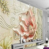 LJJLM カスタム大規模な壁画3Dレリーフ花フレスコテレビ背景壁壁紙-200X150CM