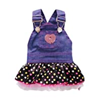 Petparty Sweet Heart Sequins Denim Dog Dress Dog Clothes L [並行輸入品]
