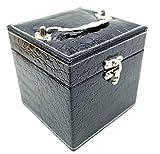 ジュエリーボックス クロコ ベロア 調 アクセサリーケース 宝石箱 三段 (クロコ ブラック)