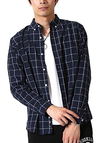 (アーケード) ARCADE カジュアルシャツメンズ 長袖 ボタンダウンシャツ 柄シャツ LL ネイビーウィンドペン