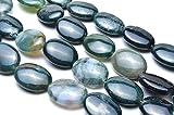 【 福縁閣 】モスアゲート オーバル 12x16mm 1連(約38cm)_R2075/A1-3天然石 パワーストーン ビーズ