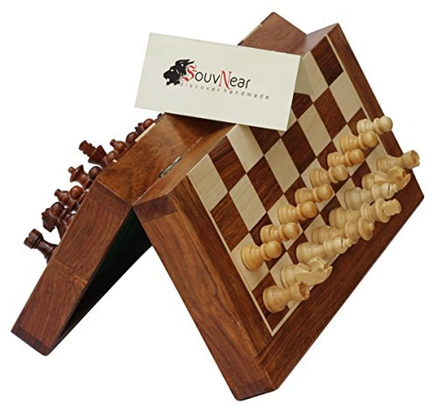 SouvNear Handmade Rosewood Chess Set - Classic 10' Inch Ultimate Wood Staunton Magnetic Travel Chess Game with Folding Storage Board in a Walnut Finish - Wooden Indoor Board Game Family Gifts for All [並行輸入品]