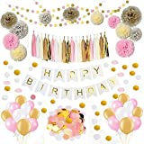 Sopeace Pink Gold Tissue Craft Decoration Kit | Pretty Party Supplies: Pom Flowers, Garland & Tassels | Paper confetti | Happy Birthday Banner for Bridal Shower Wedding Party Supplies Decor [並行輸入品]
