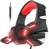VersionTek ゲーミング ヘッドセット ps4 ヘッドホン pc ヘッドフォン ゲームヘッドセット ゲーム用 マイク付き ps4 パソコン スカイプ fps xbox one 対応 赤