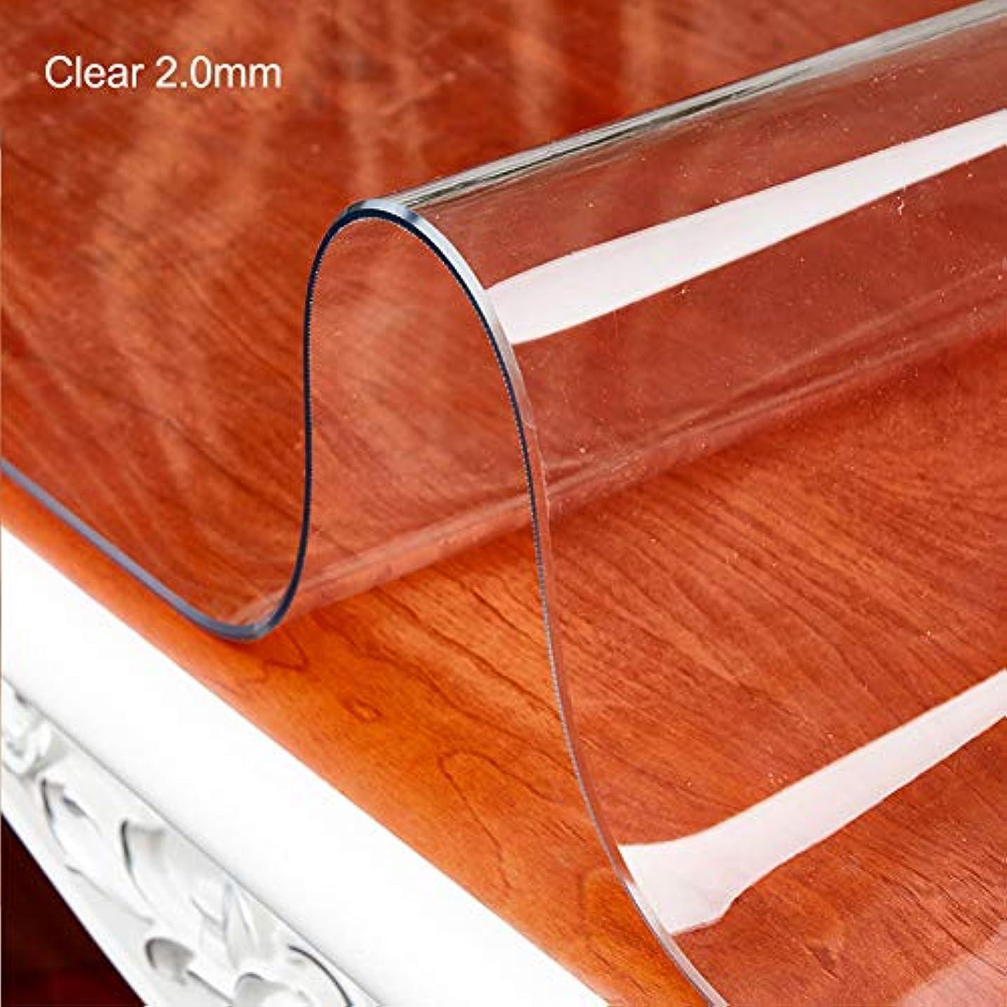オーケストラ切り下げ象厚いpvcクリアテーブルクロス,防水オイル-証明 テーブルカバー 撥水 デスク プロテクター キッチン ダイニングの卓上-clear 2.0mm 90x150cm(35x59inch)