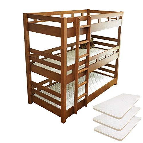 【耐荷重500kg】三段ベッド クリオ-ART 丈夫なラバーウッド材採用 寮や社宅にも最適 (パームマット3枚付)