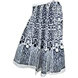 Womens Beach Skirt Sexy Black White Floral Printed Gypsy Hippie Peasant Holiday Skirts M
