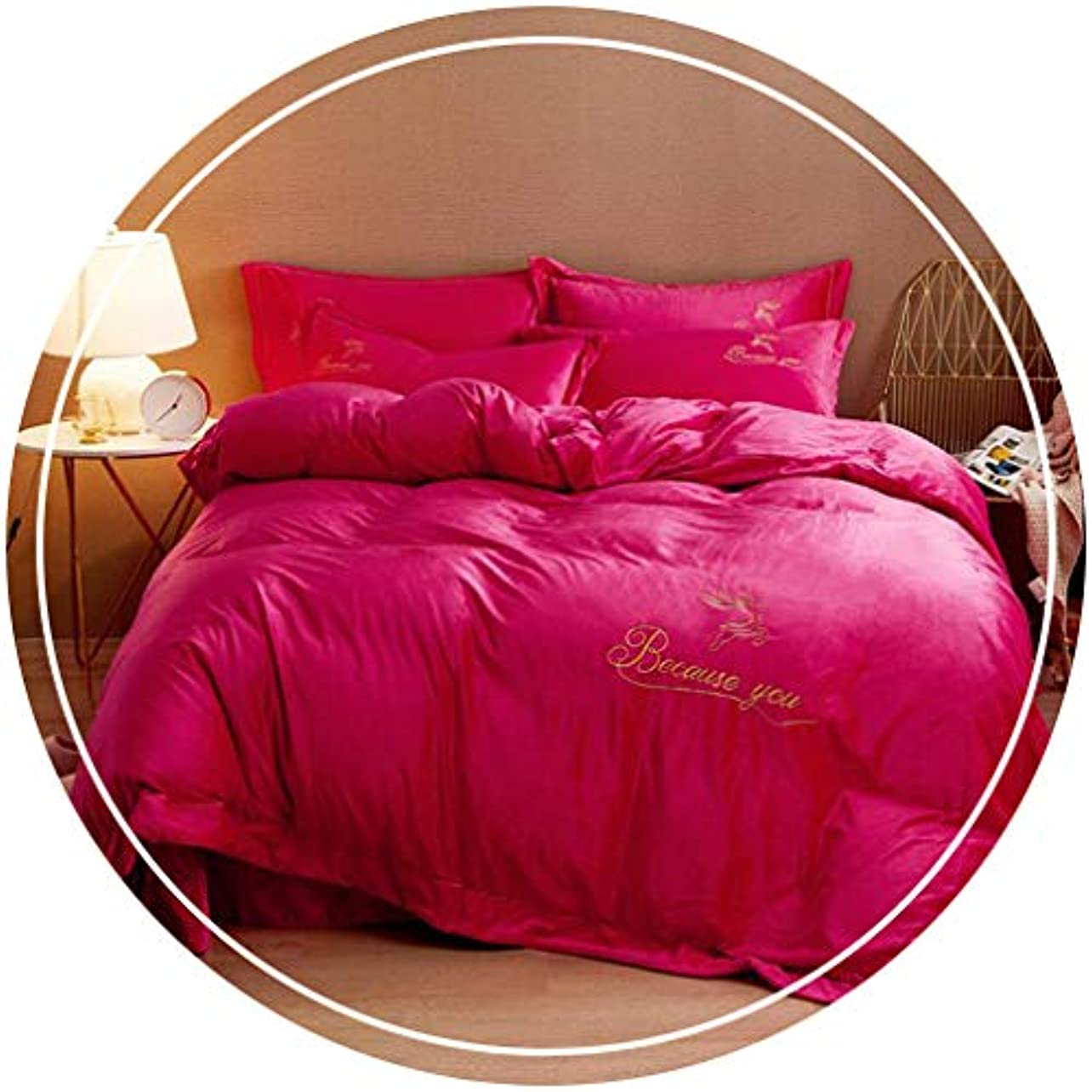 旅行申込み協同HUYYA 冬シートカバー、フランネル寝具カバーセット 柔らかく快適 4枚セットのシート マイクロファイバー シーツと枕セット,Rose powder_Standard