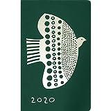エルコミューン マトカ 手帳 2020年 コンパクト マンスリー バード&フラワー グリーン DR-MC-063 (2019年 10月始まり)