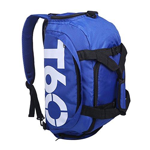 (コズーン)KO ZOON H2 ドラムバッグ 大容量 30~45L 3way リュック ショルダーバッグ ダッフルバッグ シューズ 収納 フィットネス ジム T60 (紺白)
