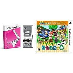 【Amazon.co.jp限定】 【液晶保護フィルムEX付き (気泡軽減タイプ) (任天堂ライセンス商品) 】New ニンテンドー3DS LL ピンク×ホワイト + とびだせ どうぶつの森 amiibo+ (「『とびだせ どうぶつの森 amiibo+』 amiiboカード」1枚 同梱) - 3DS セット