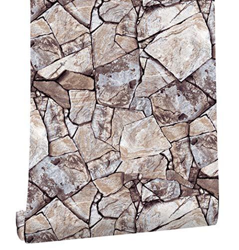 HaokHome 620511 大理石 石の壁紙 レンガ壁ステッカー カーキ/灰色 簡単貼付シールタイプ 家の装飾 45cmx6m