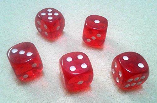 ダイス/サイコロ 16mm ラウンドコーナー 半透明レッド(赤) 5個セット