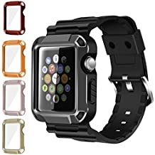 iiteeology Compatible with Apple Watch Band, Rugged Protective iWatch Case and Band Strap with Built-in Screen Protector for iWatch Series 3/2/1 – 5 in 1 Kit