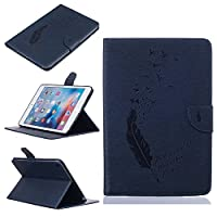 C-Super Mall-JP Apple ipad Mini 4 ケース:エンボス鳥&フェザー柄PUレザー財布フリップスタンドケース (ブルー)