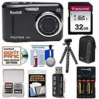 Kodak PixPro Friendlyズームfz43デジタルカメラ(ブラック)と32GBカード+電池&充電器+ケース+ Flex三脚+キット
