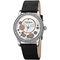Akribos XXIV AK843 Ornate Womens Casual Watch - Mother of Pearl Center Dial - Quartz Movement - Crystal Filled Bezel - Suede Leather Strap