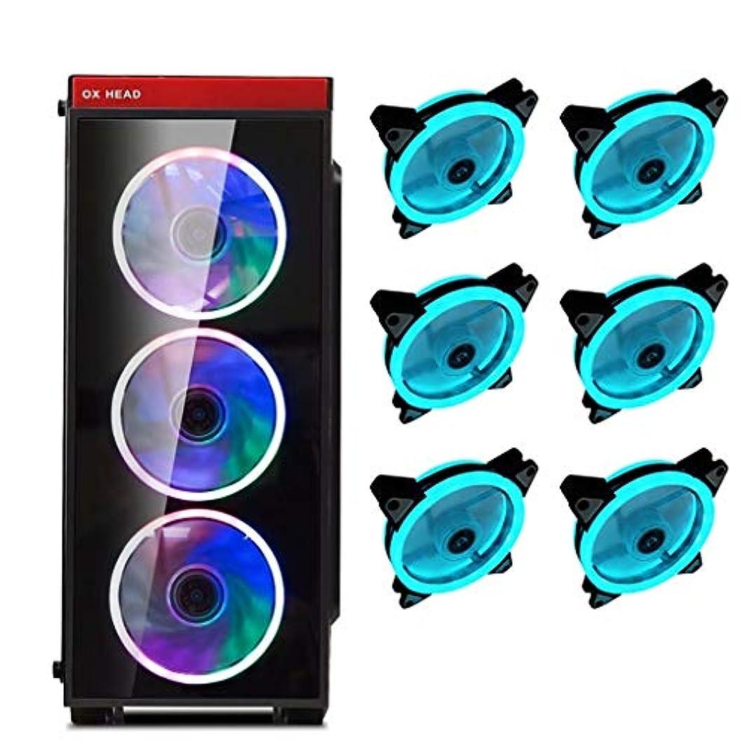 近似時刻表リベラルATXミドルタワーPCゲーミングケース、全透明な強化ガラスサイドパネル&フロントパネル、USB 3.0&12センチメートルRGBファン (Size : 6 fan)