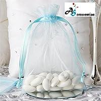 A&SCreavention®基本エレガントオーガンザ巾着ジュエリーポーチバッグパーティー結婚式のギフトバッグ6x9表インチ 60枚 (ターコイズ)