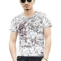 [ Smaids x Smile (スマイズ スマイル) ] トップス Tシャツ 半袖 柄 ペイント プリント スリム シンプル 丸首 メンズ